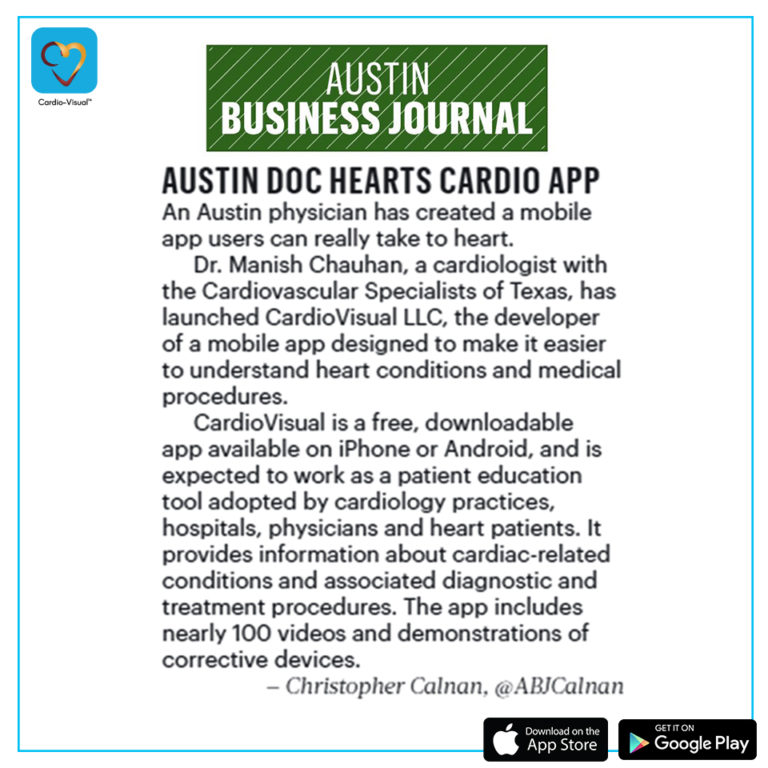 CardioVisual Mentioned in Austin Business Journal